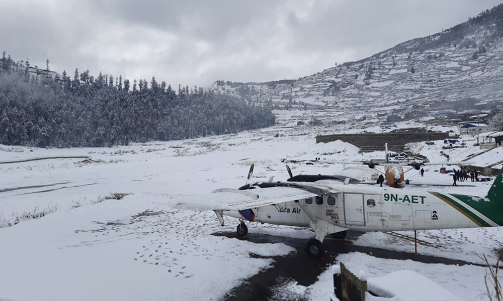 Snowfall in Humla – flights cancelled, life affected