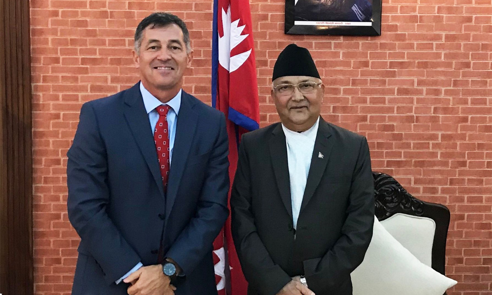 The US Ambassador meets PM Oli with a message from Biden