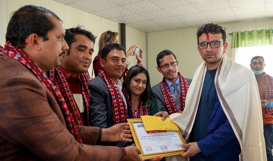 Bijaya Subedi  awarded with Central College National Film Journalism Award