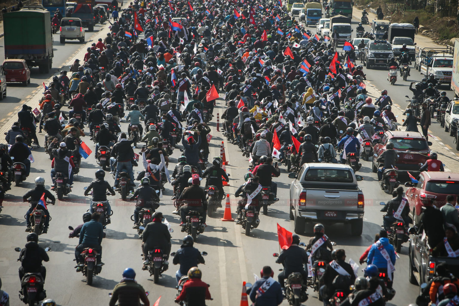 Motorcycle rally by Pro-Oli youth and students in Kathmandu