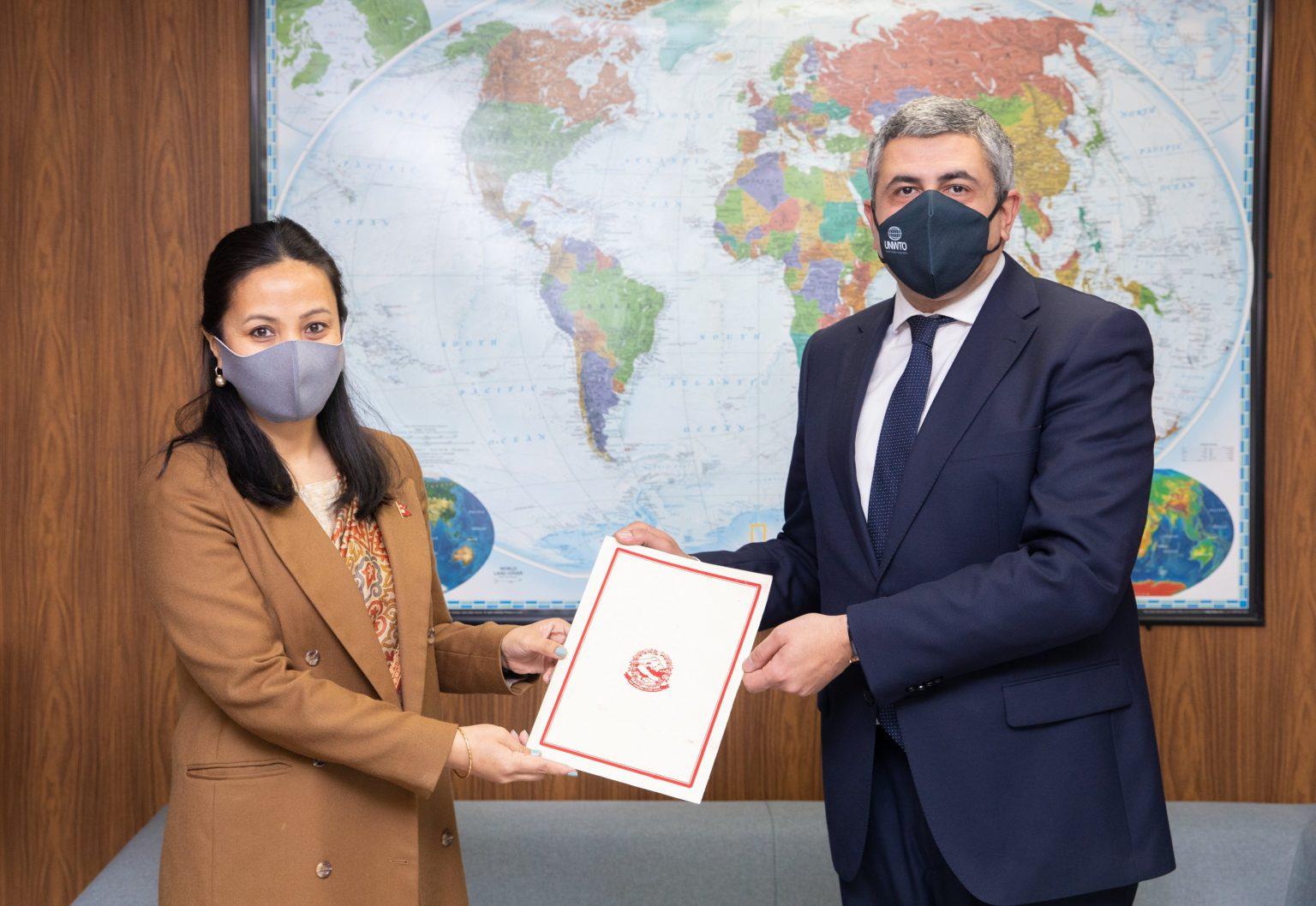 Credentials presented by Ambassador Dawa Futi Sherpa to the UNWTO- Secretary General