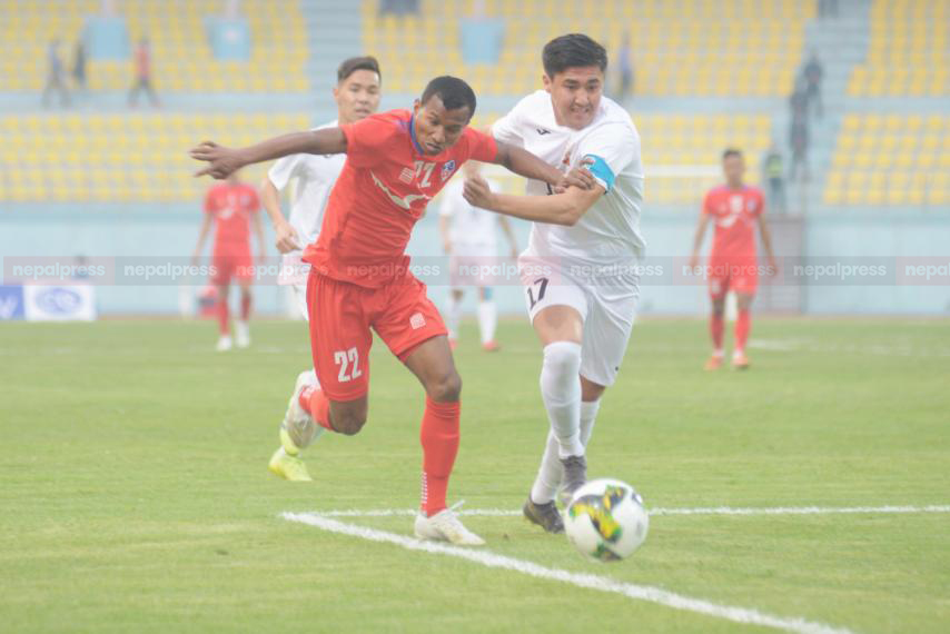 Game against Kyrgystan U-23 ended in goalless draw as a result of Nepal's poor finishing