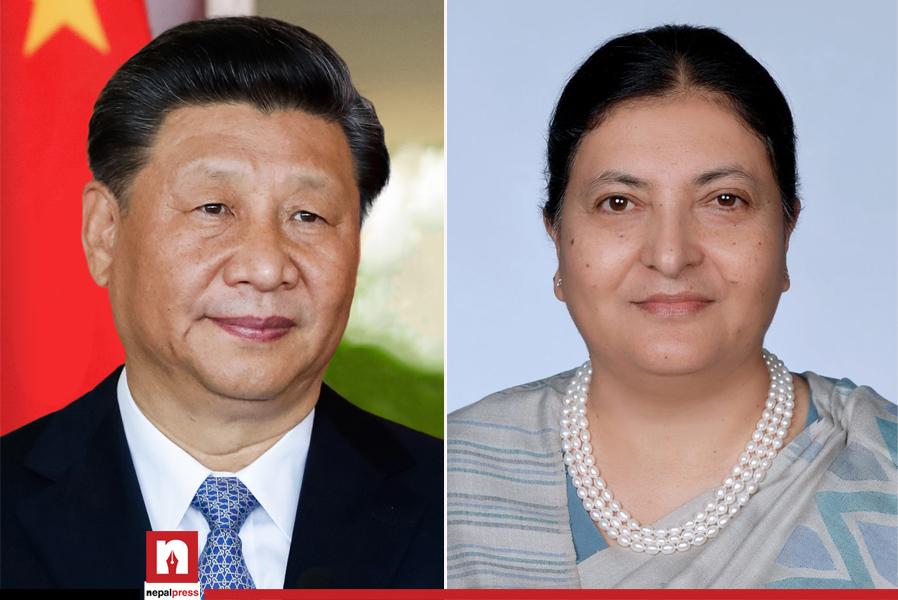 45-minute long telephone conversation held between President Bhandari and Chinese President Xi Jinping