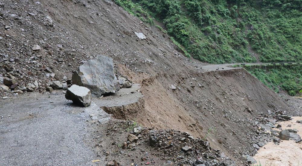 Landslide washes away 50 meters of paved road on Siddhartha Highway