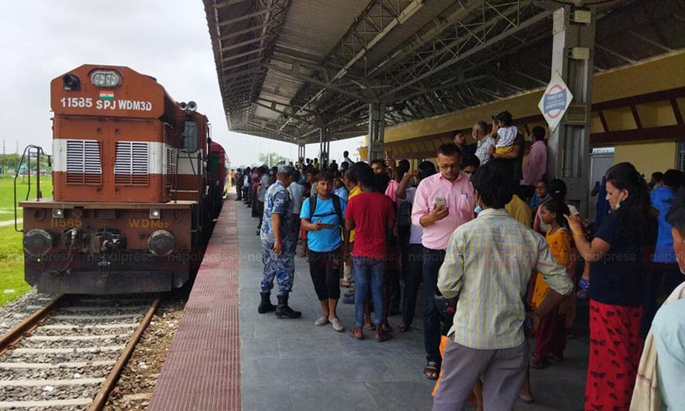 Janakpur-Jayanagar Railway: Rail brought from India for Rail inspection