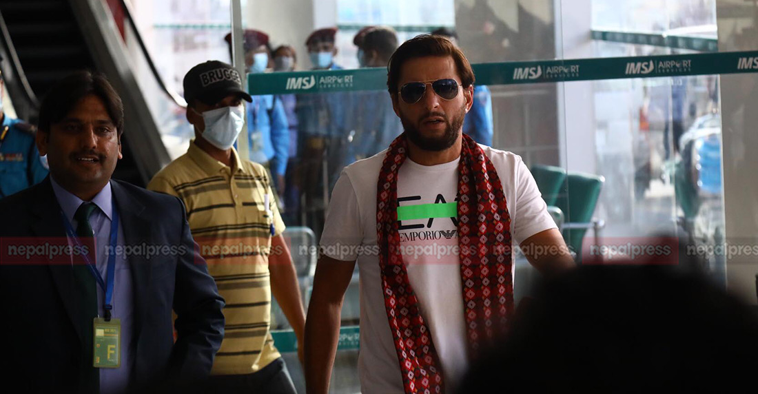 Former Pakistan  captain Shahid Afridi in Nepal to play EPL (With photos)