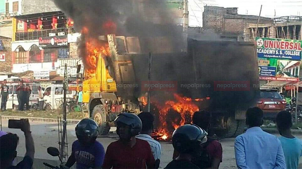 Irate locals set truck on fire after it crushes pedestrian to death in Janakpur