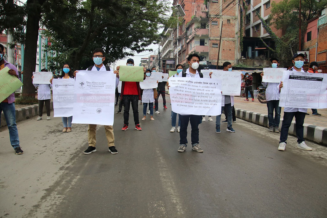 Nepali medical students graduated from China stage protest demanding facilitation of internship