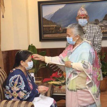 President Bhandari receives Dashain tika, jamara