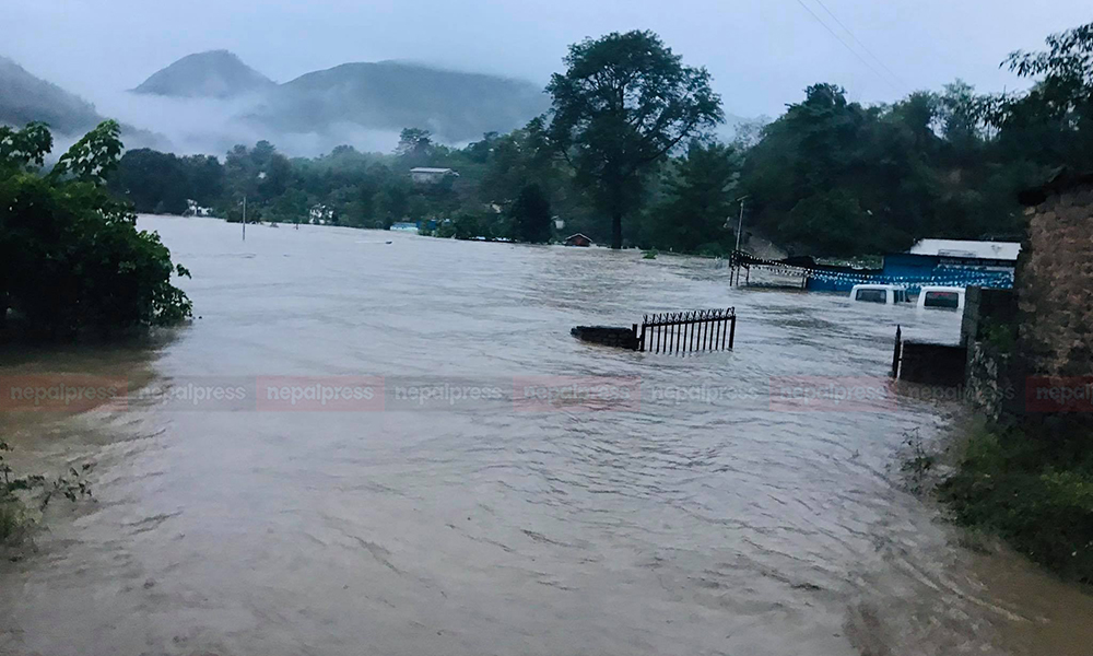 Motorable bridge over Seti River at high risk as incessant rainfall triggers flood (With video)