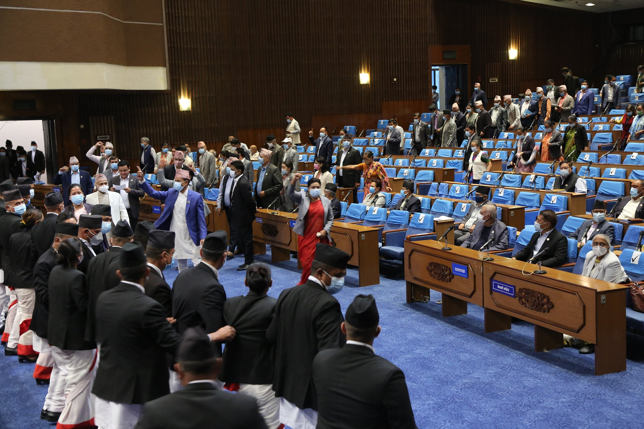 UML lawmakers protest against govt in Parliament for killing people in Rupandehi
