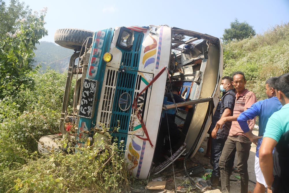 2 killed, 62 injured in Panchthar bus accident